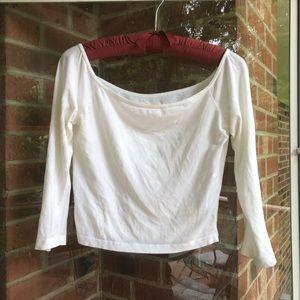 Hollister basic 3/4 sleeve white crop top